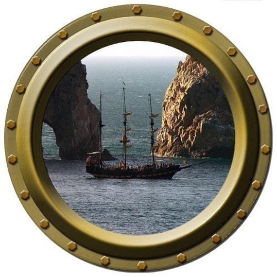 Dangerous Passage Pirate Ship Porthole Vinyl By Wilsongraphics