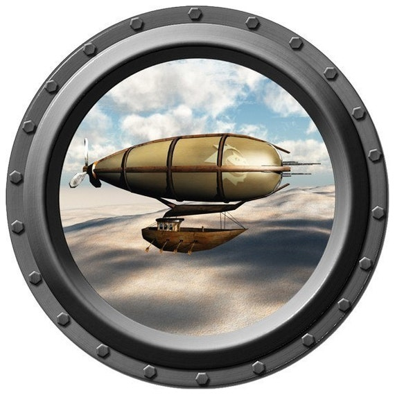 Steampunk Airship Porthole Vinyl Wall Decal