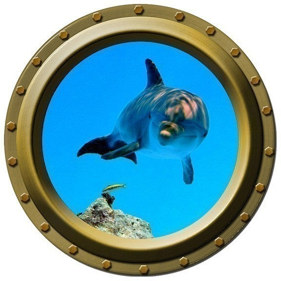 The Inquisitive Dolphin Porthole Vinyl Wall Decal