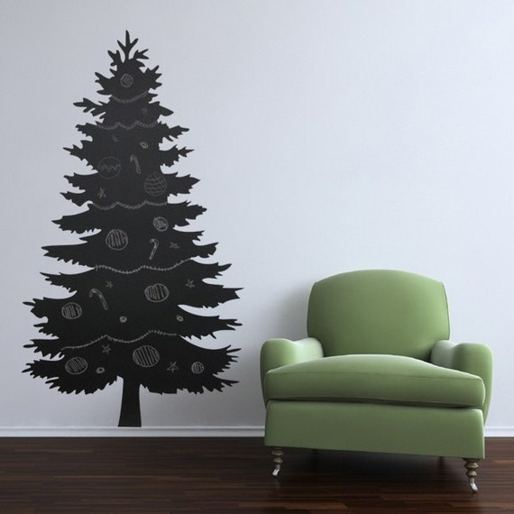 Christmas Tree Wall Sticker With Lights : Christmas Tree Chalk Board Wall Decal Sticker by WilsonGraphics