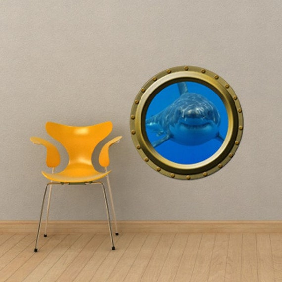 Extra Large Hungry Shark Porthole Wall Decal