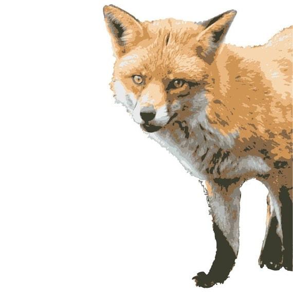 Fox Peering Around Wall Vinyl Decal - Varying Facings Available