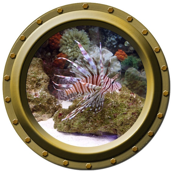 Lionfish Tropical Fish Porthole Wall Decal
