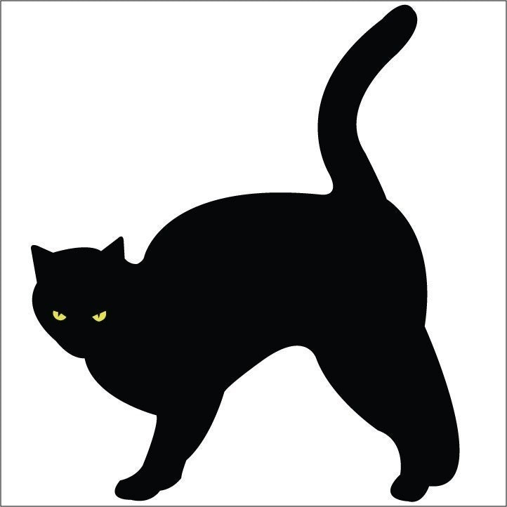 Mad Black Cat Arching Back Vinyl Wall Decal by WilsonGraphics Tall Pumpkin Outline Clip Art