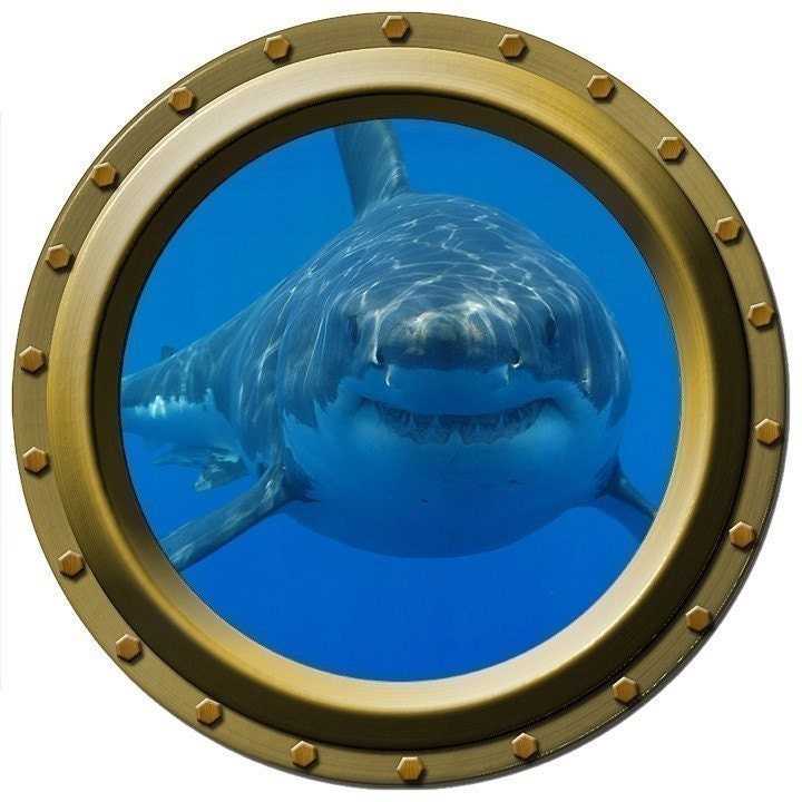 Large Hungry Shark Porthole Wall Decal By Wilsongraphics