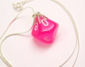 Neon Pink D10 D&D Pendant Necklace Super Bright Day Glo for Kandi Kid Gamers