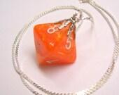 Orange D8 Pendant Necklace