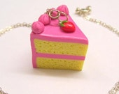 Slice of Strawberry Cake Polymer Clay Kawaii Miniature Charm Sterling Silver Necklace