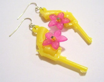 Yellow and Pink Pistolera Earrings