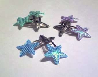 Iridescent Mermaid Seapunk Star Barrette Trio