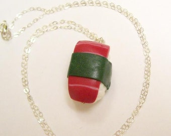 Polymer Clay Tuna Nigiri w Sterling Silver Necklace
