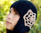 Alpaca wool hat / one earflap /  Jelly fish