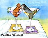 Dachshund Cocktail Wieners Humorous Martini Art Print by Terry Pond