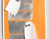 Mod Three Ghosts Halloween Card