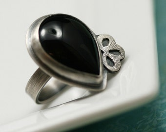 Black Onyx and Sterling Silver Ring - Size 6 3/4