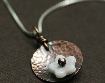 Little Poppy Pendant Necklace in Copper and White - Tiny Terrace Collection
