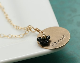 Gold Mother or Word Necklace with Custom Flower Colors