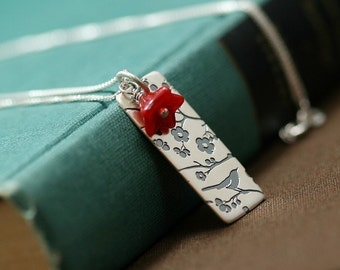 Cherry Blossom Bird Pendant Necklace in Your Choice of Colors - Songbird Collection