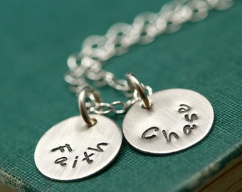 Two Disc Silver Stamped Name Mother's Necklace