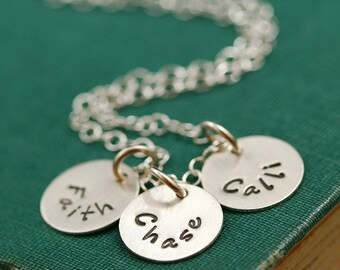 Three Disc Silver Stamped Name Mother's Necklace