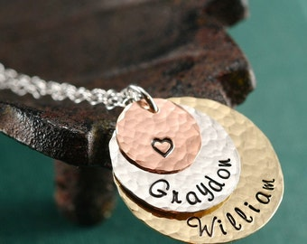 Silver Copper and Brass Mother's Necklace with Two Names & a Heart
