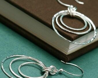 Sterling Silver Triple Ring Earrings
