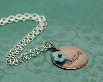 Spring Dreaming Pendant in Copper and Blue - Tiny Terrace Collection
