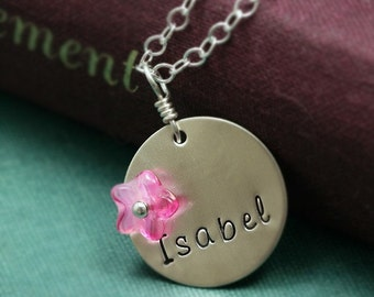 Sterling Silver Mother or Word Necklace with Custom Colors
