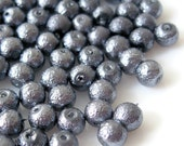6mm Glass Pearl Matte Bead Round - Gray 100pcs
