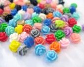 Wholesale, 7.5mm Resin Cabochons Rose - Mix 100pcs, 15 Colors