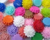 13.5mm Resin Cabochons Flower, Oval - Mix 100pcs