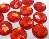 WHOLESALE -- Acrylic Rhinestone Cabochon Beads, Faceted, Circle, Red, 18mm, 100pcs