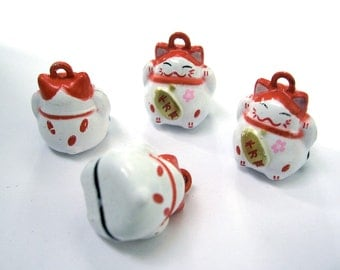 4 Fortune Cat Bell Pendant Charms