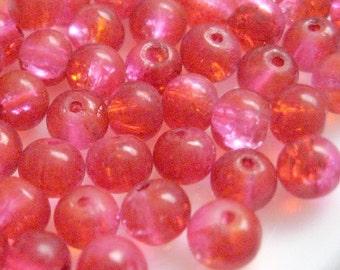 DESTASH SALE -- 500 6mm Crackle Round Glass Bead - Fuchsia Red A50