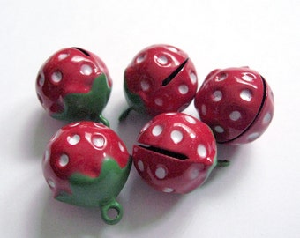 Strawberry Brass Jingle Bell Pendant Charms 4pcs