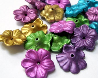 16mm Acrylic Flower Metallic Bead, Mix, 50pcs