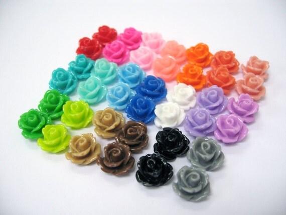 10mm Resin Cabochons Rose - Mix 40pcs, 20 Colors