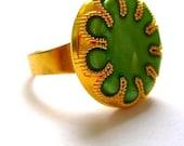 Golden green ring