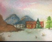 OOAK Handpainted Watercolor AECO Winter Desert