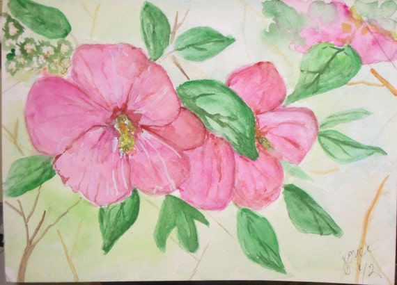 Original Watercolor Mini Painting Greeting Card Blank 5 x 7