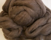 Undyed Wool Roving - Natural Medium Brown Wool - 8 Ounces
