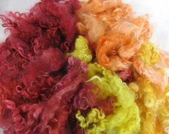 Hand-dyed Mohair Locks - Fire Colorway - 3 ounces - Free Domestic Shipping