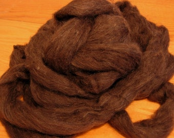 Undyed Natural Dark Brown Wool Roving - 8 Ounces - Free Domestic Shipping