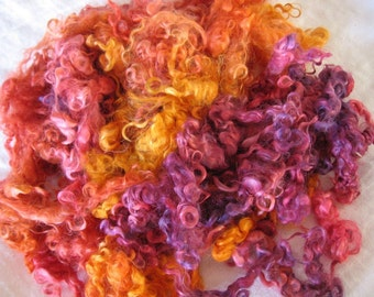 Hand-dyed Mohair Locks - Carnivale colorway - 3 ounces  - Free Domestic Shipping