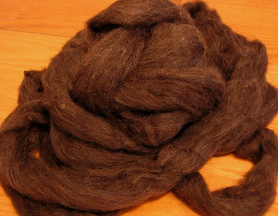 Undyed Wool Roving - Natural Dark Brown  - 4 Ounces - Free Domestic Shipping