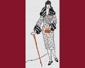 Lady With Walking Stick Loom Stitch Only