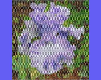 Blue Iris Bead Tapestry Pattern TWO DROP PEYOTE