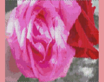 Double Roses Bead Tapestry Pattern  LOOM
