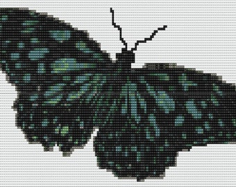 Black and Blue Butterfly Tapestry Bead Pattern Loom Stitch