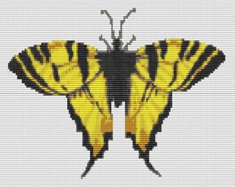 Yellow Swallowtail Butterfly Bead Pattern LOOM